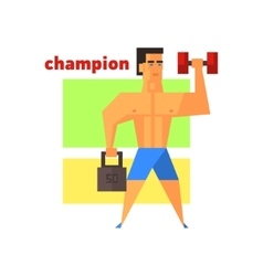 Man champion abstract figure vector