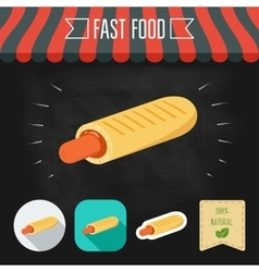 French hot dog icon on a chalkboard set of icons vector