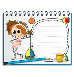 A notebook with an image of a girl ready for vector image