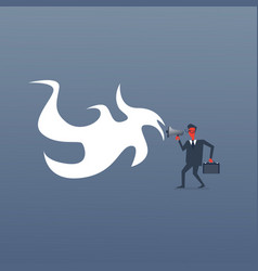 Angry boss business man screaming in megaphone red vector