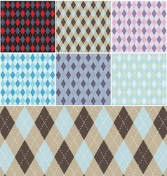 Argyle plaid pattern set vector