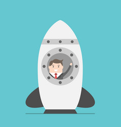 businessman in space rocket vector image vector image