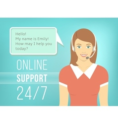 Call centre support girl with headphones vector