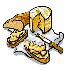 cheese and bread vector image vector image