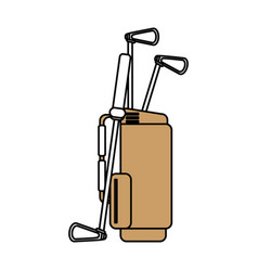 Color silhouette cartoon bag with golf clubs vector