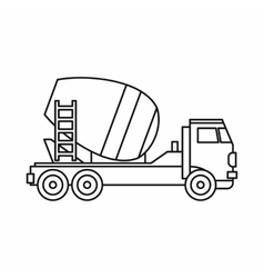 Concrete mixer truck icon outline style vector