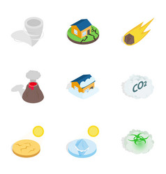 Disaster icons isometric 3d style vector