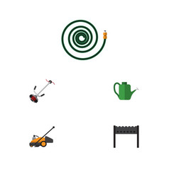 Flat icon dacha set of lawn mower hosepipe grass vector