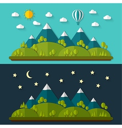 Flat nature landscape vector