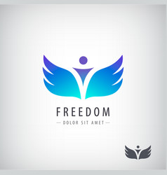 freedom logo concept man with wings vector image vector image