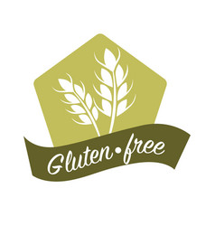 Gluten free substance in cereal grains logo design vector