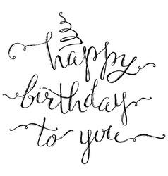 Hand-written Happy Birthday Lettering vector image vector image