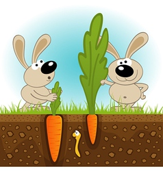 Hares big and small carrots vector