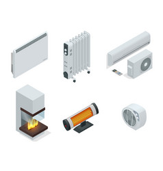 isometric set of electric radiator or electric vector image