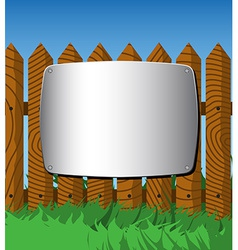 Metal plate on the fence vector