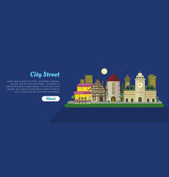 Night city street day flat banner vector