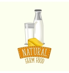 Painted logo design of dairy products with frame vector