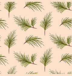 pine tree branches on pale pink background pattern vector image