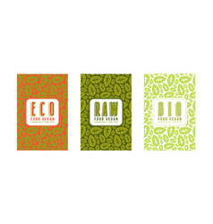 Set of seamless pattern and labels for vegan food vector