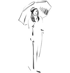 sketch of girl with umbrella vector image