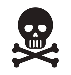 Skull with bones icon vector