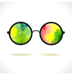 Sun glasses with reflection of colorful watercolor vector image