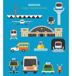 Thailand transportation objects set vector