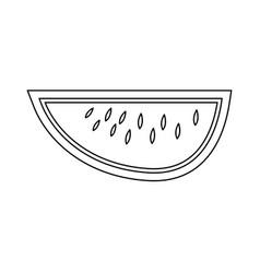 Watermelon black color path icon vector