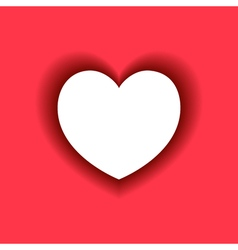 White Heart with shadow on red background vector image
