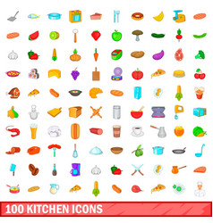100 kitchen icons set cartoon style vector image