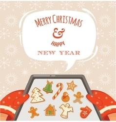 Christmas bakery gingerbread cookies vector