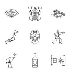 Holiday in japan icons set outline style vector