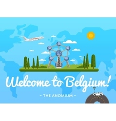 Welcome to belgium poster with famous attraction vector