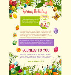Easter spring holidays celebration poster template vector