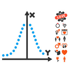 Gauss plot icon with valentine bonus vector