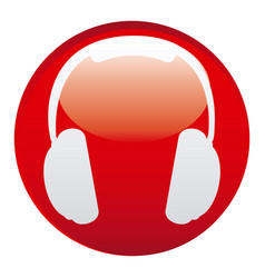 Red headphone emblem icon vector