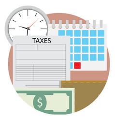 Time pay tax icon vector