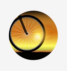 bicycle wheel at sunset silhouette of bike vector image