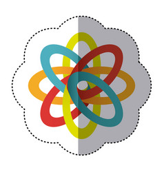 Sticker shading colorful rings in atom shape vector