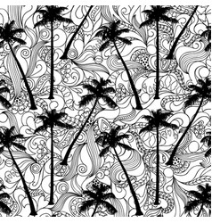 palm and doodle seamless pattern vector image