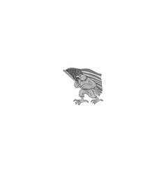 American eagle waving usa flag cartoon vector