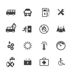 Dangers of public bus icons set flat design vector