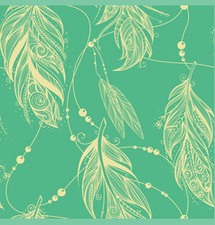 Seamless pattern from feathers of birds vector