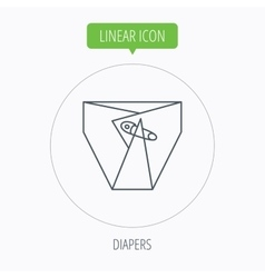Diaper with pin icon child underwear sign vector