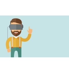Man with virtual reality headset vector