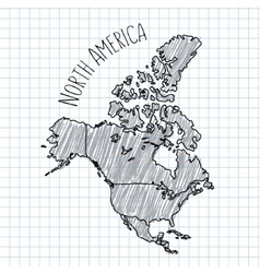 Pencil hand drawn north america map on vector