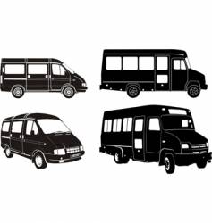 urban buses silhouettes set vector image