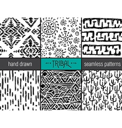 Set of six hand drawn tribal seamless black and vector