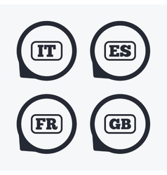 Language icons it es fr and gb translation vector