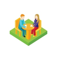 Couple Date in Cafe Isometric Design vector image